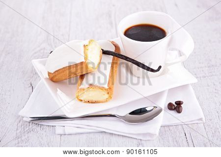 coffee cup and choux pastry