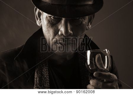 Old Gangster And A Glass Of Wine