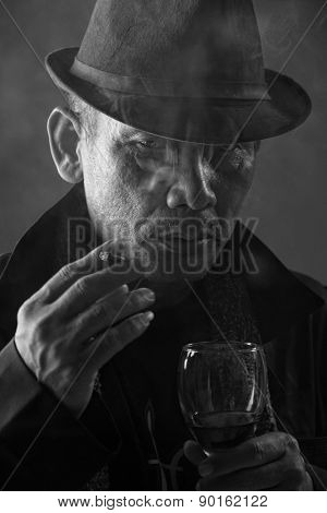 Old Mafia Boss Portrayed In Noir Style