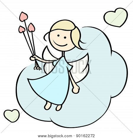 Happy Cupid Flying On Cloud