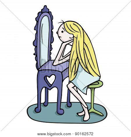 Cute Girl Looking In Mirror