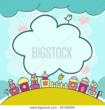 Childrens Background With Cartoon Houses