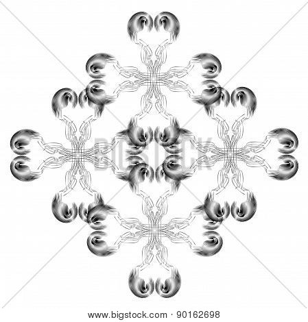 Black And Gray Tracery Bright Geometrical  Figures On A White Background