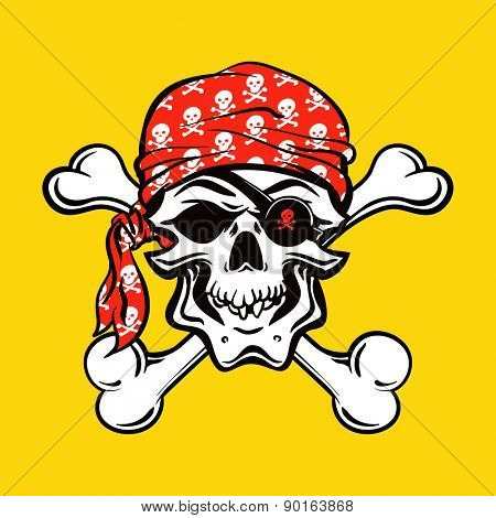 Pirate Skull on yellow background. vector illustration