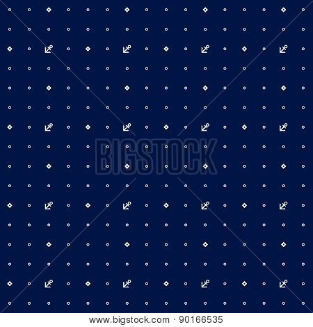 Vector seamless nautical deep pattern with dots and anchors