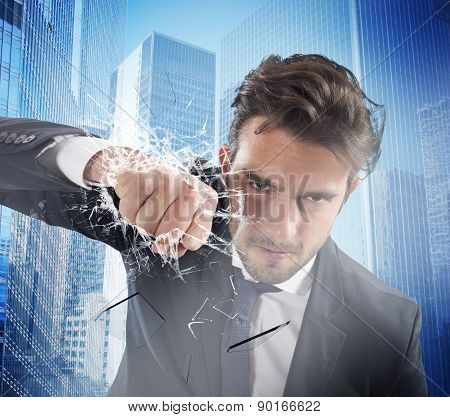Fist of determinated businessman