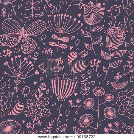 Sweet cartoon birds and butterflies in flowers. Romantic seamless pattern in violet colors