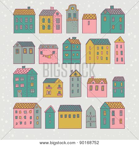 Sweet cartoon houses in vector. European concept card in pastel colors