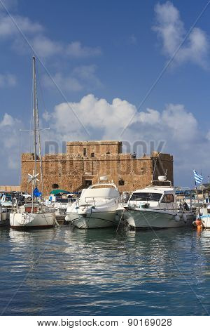 Yachts On The Background Of The Old Fortress In Paphos. Cyprus