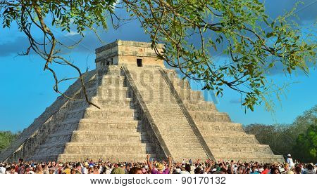 Chichen Itza, Mexico - March 21,2014: Tourists Watching The Feathered Serpent Crawling Down The Temp