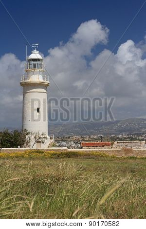 Great Lighthouse In Paphos, Cyprus In The Spring