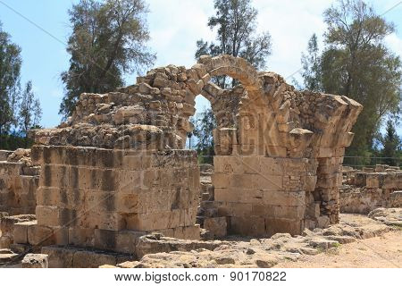 The Ruins Of The Old Castle Saranta Kolones. Cyprus