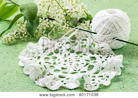 Bird Cherry And Knitted Lace Doily