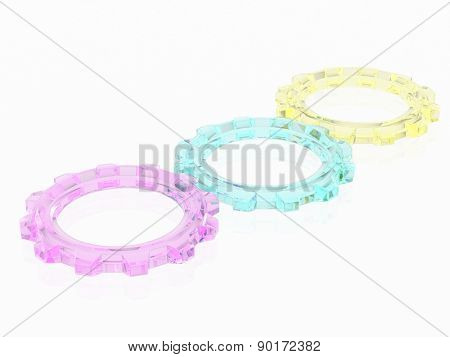 CMY, Cyan, Magenta, Yellow, in the form of gears. the concept of print settings. 3d