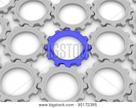 blue gear among the gray on a white background. The concept of leadership in the team. 3d
