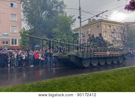 Donetsk, Ukraine - May 9 2015: Residents of the city welcomed armored army Donetsk People's Republic