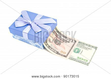 Notes And Blue Gift Box On White