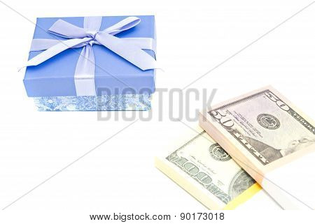 Money And Blue Gift Box On White
