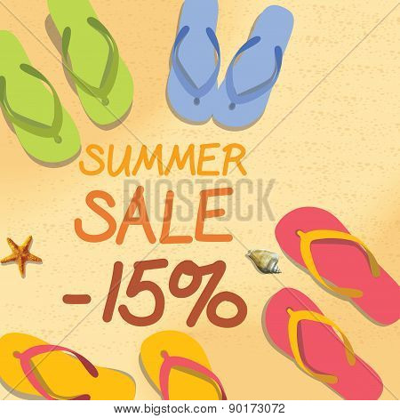 Summer Discount Of 15 Percent On The Sand With Starfish And Colorful Summer Slippers