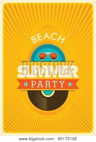 Summer party poster. Vector illustration.