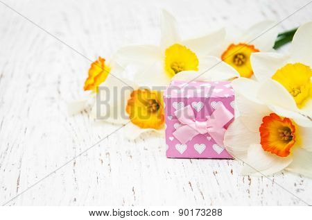 Yellow Daffodils With Present Box