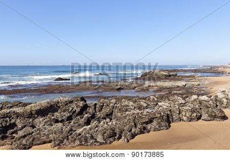 Rocks Exposed At Low Tide, Umdloti Beach Durban South Africa