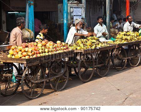 People Sell Fruits At Chawri Bazar In Delhi, India