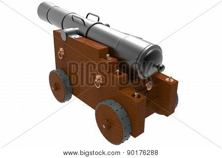 Old Cannon With Wooden Carriage