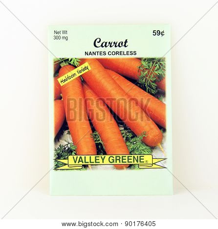 Package Of Valley Greene Carrot Seeds