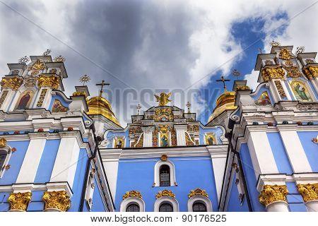 Saint Michael Monastery Cathedral Spires Facade Paintings Kiev Ukraine