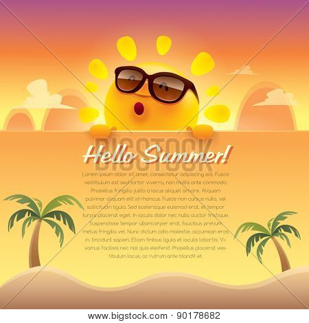 Hello Summer! Summer greeting card. Wide copy space for text.