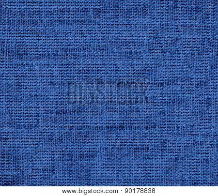 Cyan cobalt blue color burlap texture background