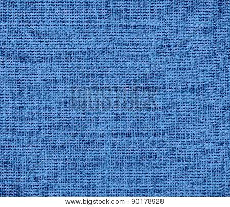 Cyan-blue azure color burlap texture background