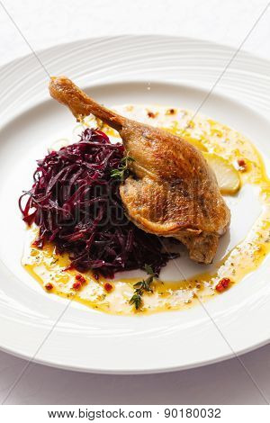 Roast duck with beetroot