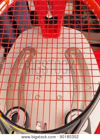 Finished Tennis racquet freshly strung