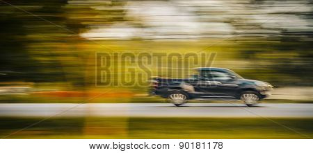 High Speed Car In Mortion Blur