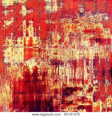 Abstract composition on textured, vintage background with grunge stains. With different color patterns: brown; red (orange); yellow (beige); pink