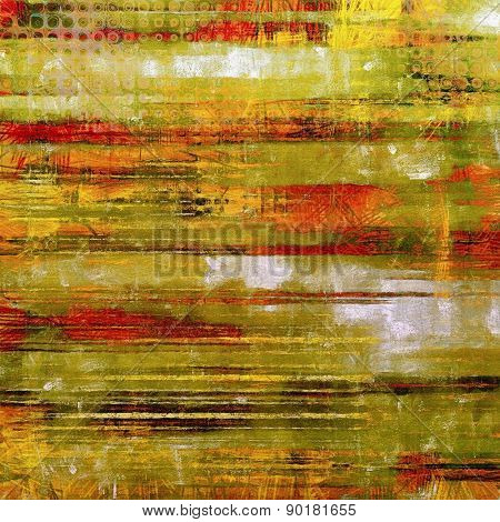 Abstract composition on textured, vintage background with grunge stains. With different color patterns: yellow (beige); brown; green; red (orange)