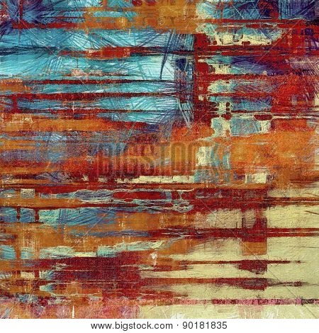 Old texture as abstract grunge background. With different color patterns: yellow (beige); brown; blue; red (orange)