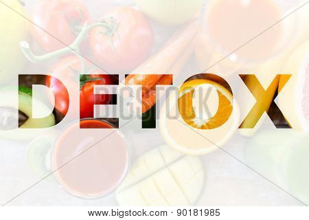 detox, healthy eating and vegetarian diet concept - juice, fruits and vegetables on table