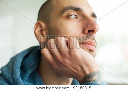 Portrait of  handsome man looking away
