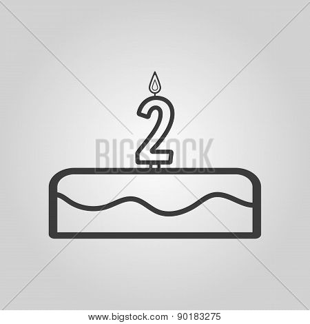 Cake With Candles In The Form Of Number 2 Icon