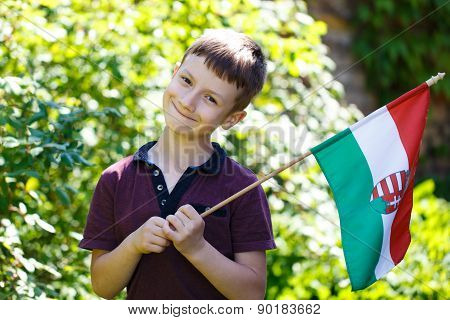 Little Boy With Hungarian Flag