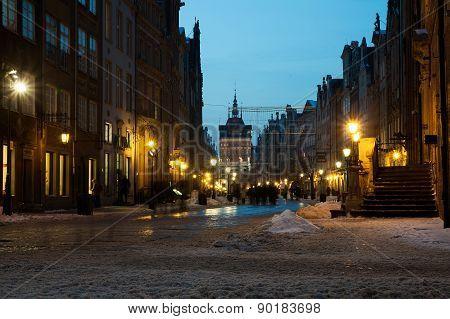 Old Town Of Gdansk In Winter Scenery