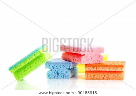 Stack Of Colorful Cleaning Sponges On White Backgorund
