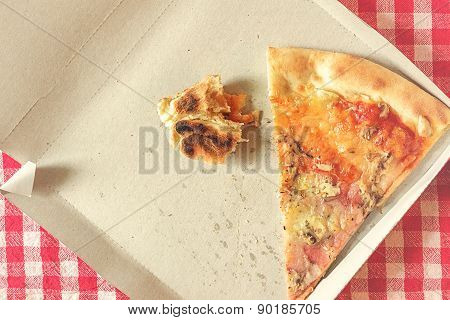 Pizza Leftovers In Cardboard Box, Toned Image