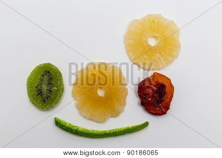 Isolated Dried Fruits On White Background