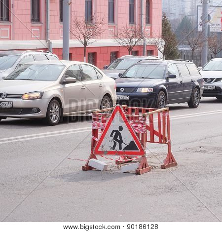 Bryansk, Russia, March, 28, 2015: traffic jams in Tula and fence and road repair