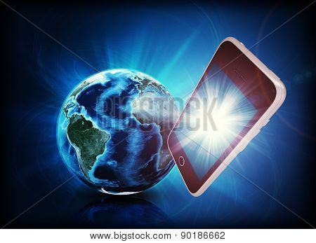 Mobile in forefround, earth on abstract background