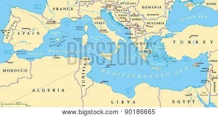 Mediterranean Sea Region Political Map